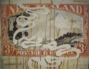 'Taranaki Milky River', oil on canvas, 1140 x980mm, 2009