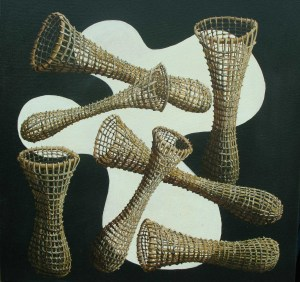 'Landscape of Inlet and nets' 405 x 405mm
