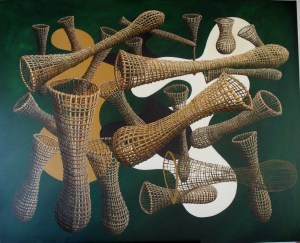 'Landscape of nets and inlets' 1110 x 1370mm. M Wooller